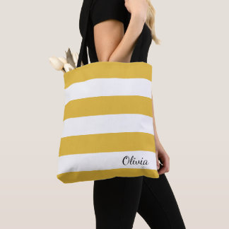 Personalized Mustard and White Striped Tote