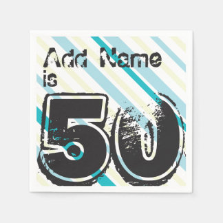 Personalized Name 50 yr Bday - 50th Birthday Party Paper Serviettes