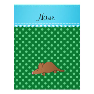 Personalized name aardvark green polka dots 21.5 cm x 28 cm flyer