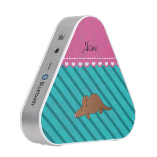 Personalized name aardvark turquoise stripes
