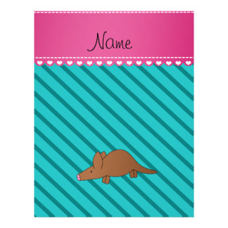 Personalized name aardvark turquoise stripes 21.5 cm x 28 cm flyer