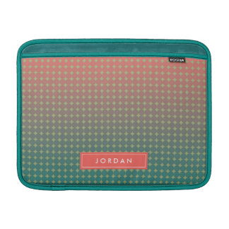 Personalized Name Abstract Beach Sunset Coral Teal MacBook Sleeves