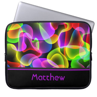 Personalized Name Abstract Neon Lava Swirls Computer Sleeve