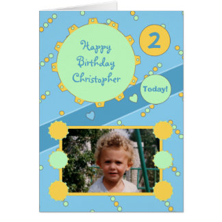 Personalized name age Birthday Little Boy photo Card