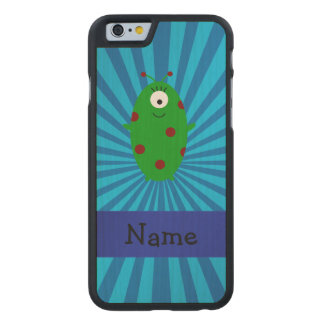 Personalized name alien blue sunburst carved® maple iPhone 6 slim case