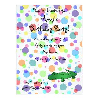 Personalized name alligator rainbow polka dots 14 cm x 19 cm invitation card