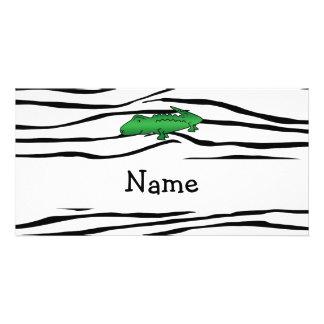 Personalized name alligator zebra stripes photo greeting card