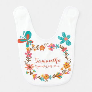 Personalized Name and Birth Date Floral Wreath Bib