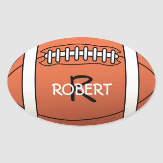 Personalized Name and Monogram Template Rugby Ball Oval Sticker