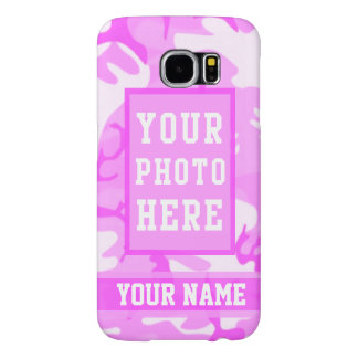 Personalized Name and Photo Cute Pink Camouflage Samsung Galaxy S6 Cases