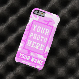 Personalized Name and Photo Cute Pink Camouflage Tough iPhone 6 Case