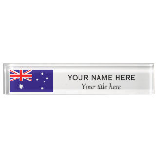 Personalized name and title Australian flag Desk Name Plates