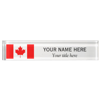 Personalized name and title Canadian flag Name Plate