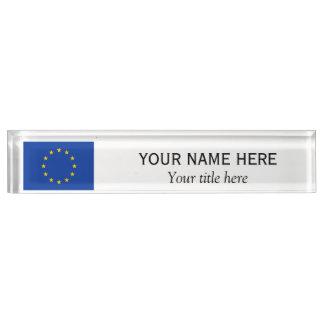 Personalized name and title European Union EU flag Nameplate