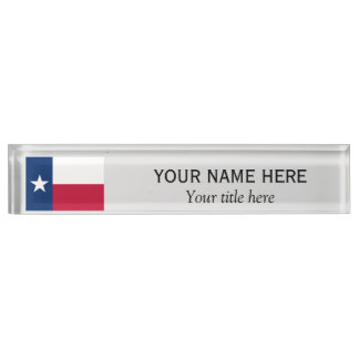 Personalized name and title Texas state flag Name Plate