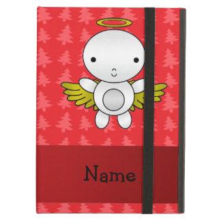 Personalized name angel red christmas trees iPad folio case