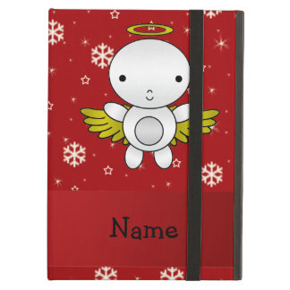 Personalized name angel red snowflakes cover for iPad air