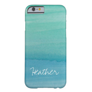 Personalized name aqua watercolor iPhone 6 case Barely There iPhone 6 Case