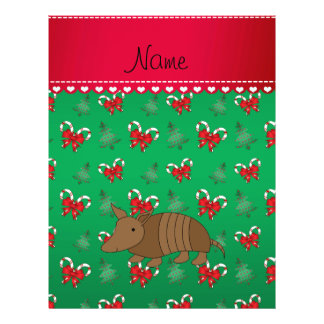 Personalized name armadillo green candy canes bows 21.5 cm x 28 cm flyer