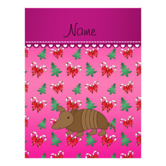 Personalized name armadillo pink candy canes bows 21.5 cm x 28 cm flyer