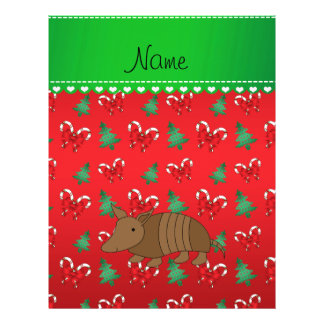 Personalized name armadillo red candy canes bows 21.5 cm x 28 cm flyer