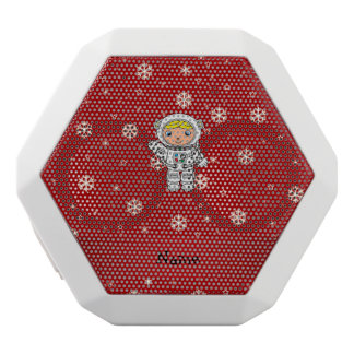 Personalized name astronaut red snowflakes