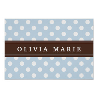 Personalized Name Baby Blue Polka Dots Pattern Poster