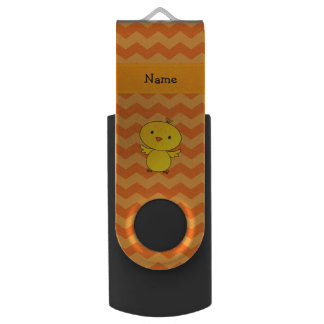 Personalized name baby chick orange chevrons USB flash drive