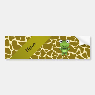 Personalized name baby frog giraffe pattern bumper sticker