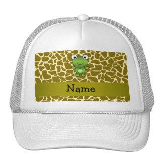 Personalized name baby frog giraffe pattern trucker hat