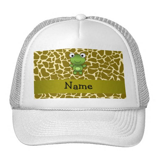Personalized name baby frog giraffe pattern mesh hat