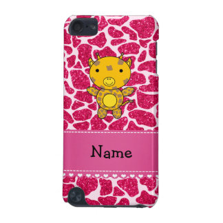 Personalized name baby giraffe hot pink glitter iPod touch (5th generation) cases