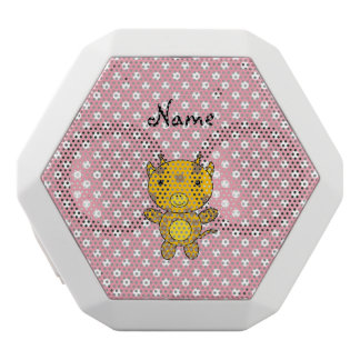 Personalized name baby giraffe pink polka dots white boombot rex bluetooth speaker