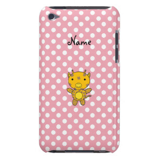 Personalized name baby giraffe pink polka dots iPod Case-Mate cases