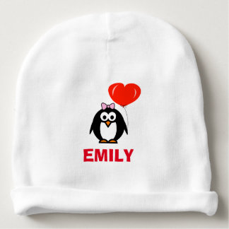 Personalized name baby hat with cute penguin girl baby beanie