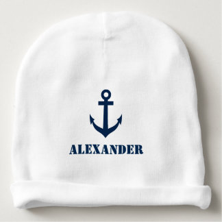 Personalized name baby hat with nautical anchor baby beanie