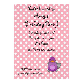 Personalized name baby platypus pink polka dots 5.5x7.5 paper invitation card