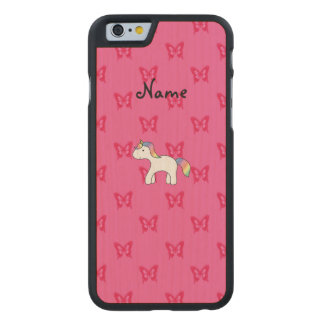Personalized name baby unicorn pink butterflies carved® maple iPhone 6 case