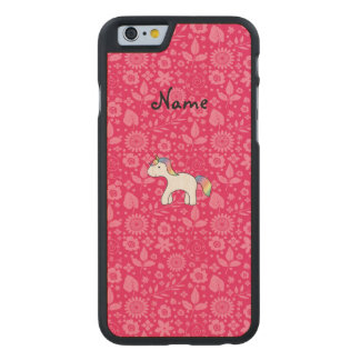 Personalized name baby unicorn pink flowers carved® maple iPhone 6 slim case