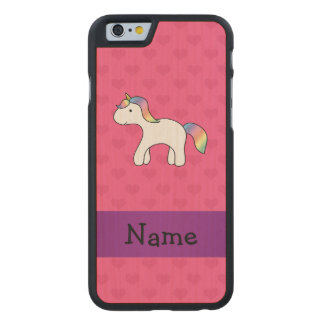 Personalized name baby unicorn pink hearts carved® maple iPhone 6 slim case