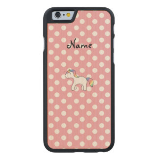 Personalized name baby unicorn pink polka dots carved® maple iPhone 6 slim case