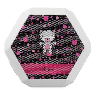 Personalized name baby zebra black pink polka dots white boombot rex bluetooth speaker