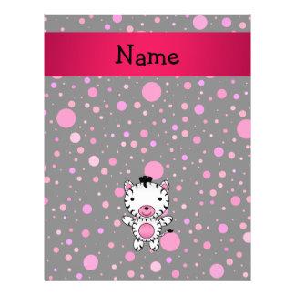 Personalized name baby zebra black pink polka dots flyers