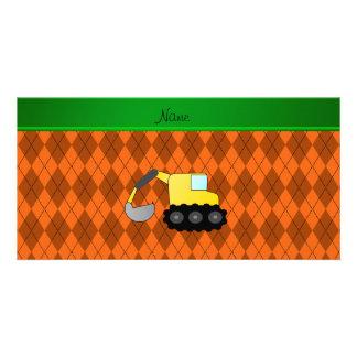 Personalized name backhoe orange argyle photo greeting card