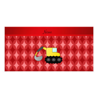 Personalized name backhoe red retro ovals photo greeting card