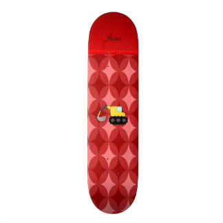 Personalized name backhoe red retro ovals skateboard