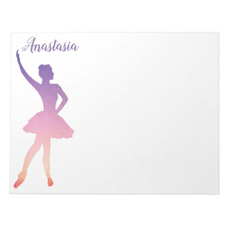 Personalized name ballerina girl dancing notepad