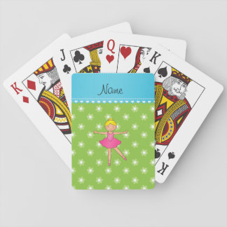 Personalized name ballerina green flowers playing cards
