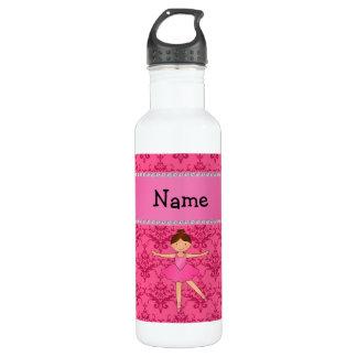 Personalized name ballerina pink damask 710 ml water bottle