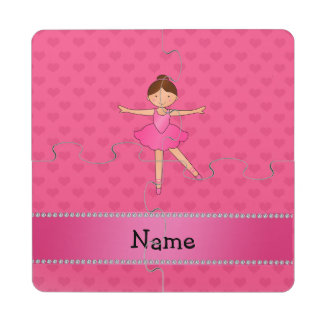 Personalized name ballerina pink hearts puzzle coaster